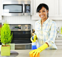 woman cleaning the kitchen counter