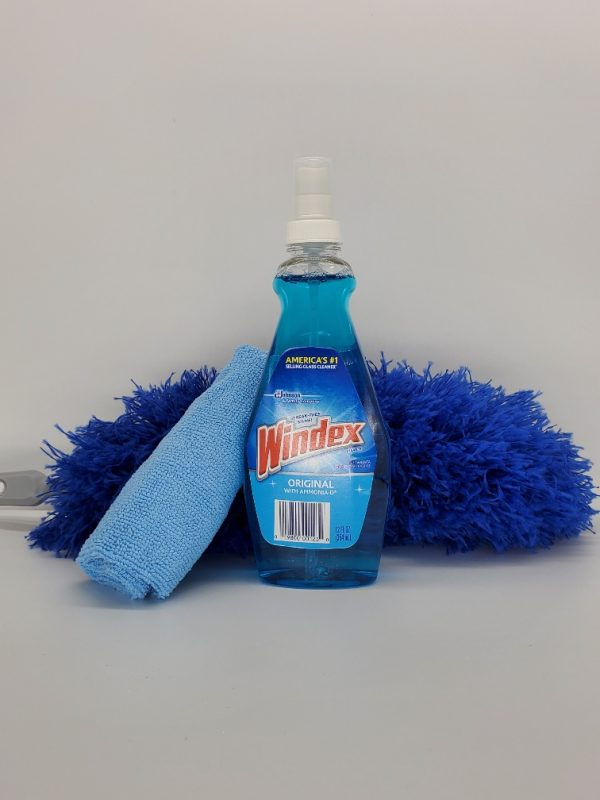 windex and cleaning materials